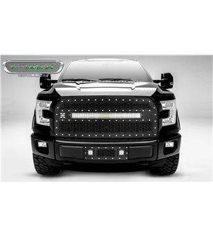 "Ford F150 2015-2017 Stealth Laser Torch Grille Chrome Studs incl 30"" Led (F150 w cam)"