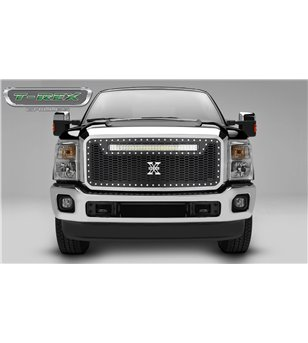 """Ford Super Duty 2011-2016 Stealth Laser Torch Grille Chrome Studs incl 30"""" Led - 7315461 - Grille - T-Rex Laser Torch LED Grille"""