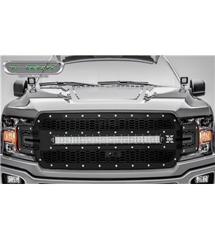 "Ford F150 2018- Stealth Laser Torch Grille Chrome Studs incl 30"" Led (F150 w cam)"