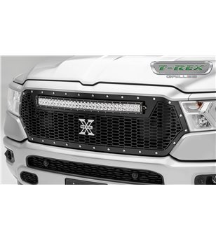 "RAM 1500 2019- Stealth Laser Torch Grille Chrome Studs incl 30"" Led - 7314651 - Grille - T-Rex Laser Torch LED Grilles - Verstra"