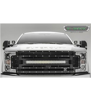 "Ford Super Duty 2017- Stealth Laser Torch Grille Chrome Studs incl 30"" Led (SD w cam) - 6315371 - Grille - T-Rex Laser Torch LED"