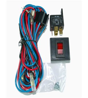 Wiring harness including switch, relais and fuse 12V