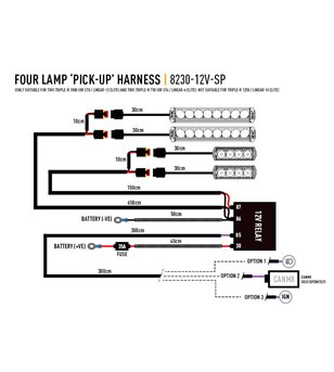 Lazer Wiring set 4 lamp without switch (12V)