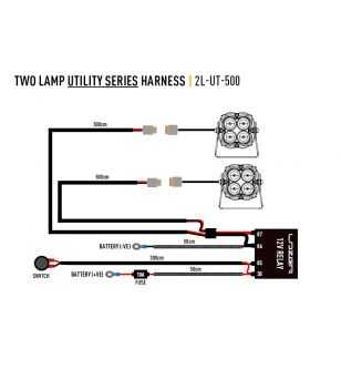 Lazer Utility Wiring set - two lamps - with switch (12V)