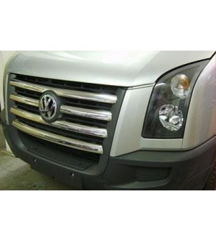 VW Crafter 2006-2011 FRONT GRILL - STEEL - rvs - 3504050043 - RVS / Chrome accessoires - Unspecified - Verstralershop