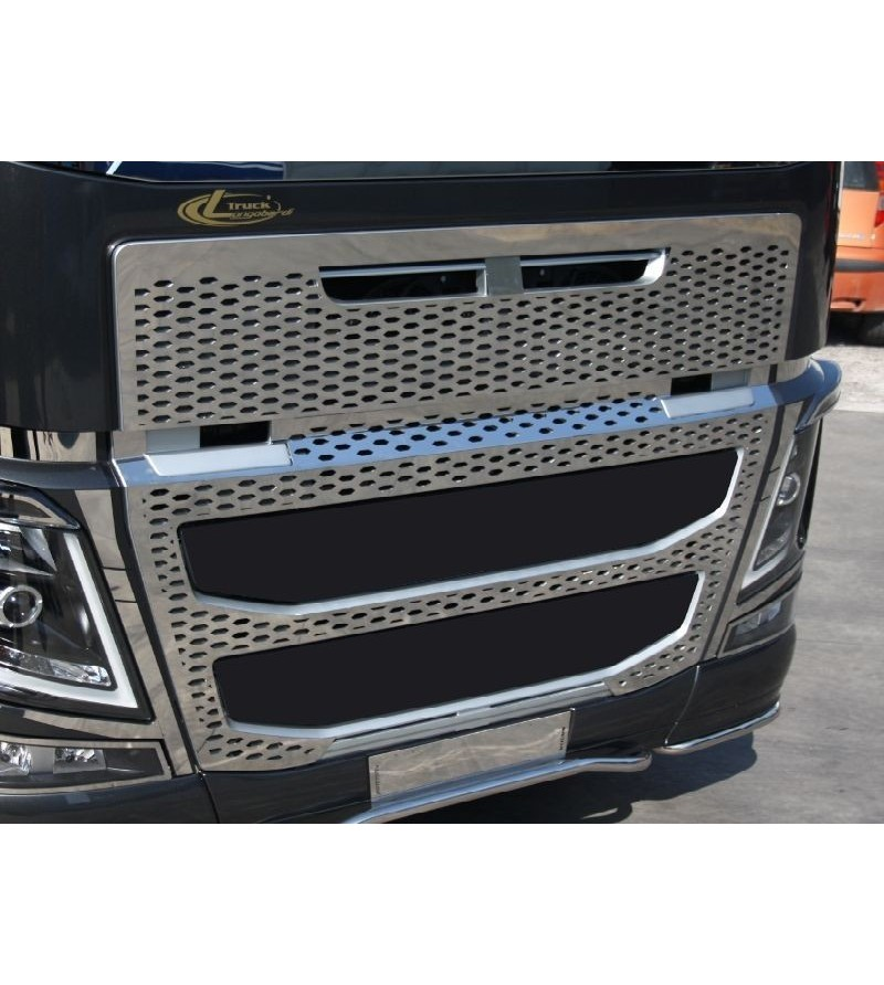 Volvo FH 2013- FH16 full grille stainless honeycrumb - 012VFH162013 - Grille - Acitoinox - Italian series - Verstralershop