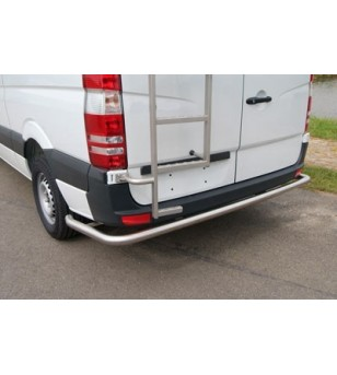 Sprinter 2006- L4 /H2/H3, doorgetrokken bocht hoogglans rear-bar RVS - 030.15.03B.024 - Rearbar / Opstap - Unspecified