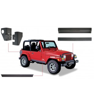 Bushwacker Wrangler TJ 97-06 Matte Black Six Piece set Trail Armor - 14901 - Other accessories - Bushwacker Trail Armor