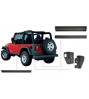 Bushwacker Wrangler TJ 97-06 Matte Black Six Piece set Trail Armor - 14902 - Other accessories - Bushwacker Trail Armor - Verstr