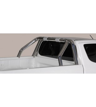 L200 club cab 15-, Roll Bar on Tonneau Inox (2 pipes version)