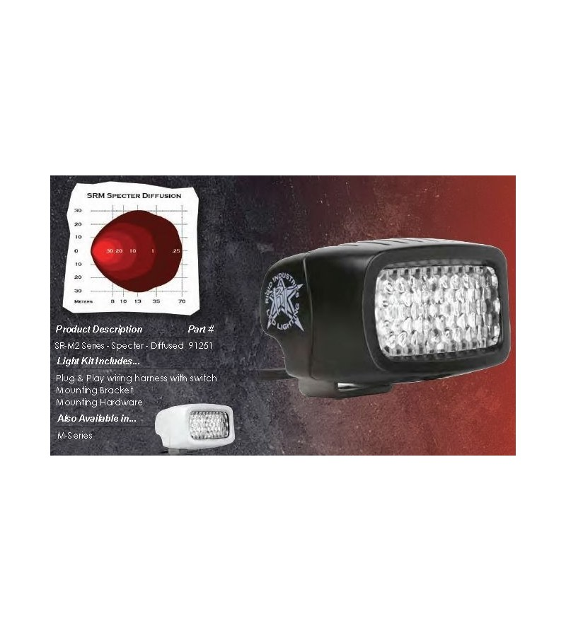 "Rigid SR-M2-Series 3"" LED Specter diffusion blank mist - 91251 - Verlichting - Rigid SR-M series - Verstralershop"