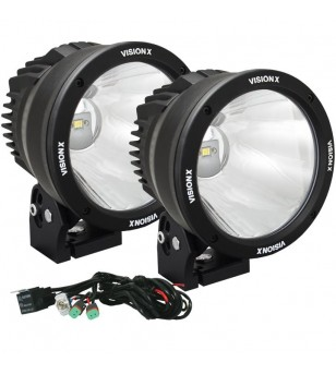 6.7 inch CANNON BLACK 1 50W LED 10degr NARROW LIGHT KIT9-32V DC KIT - CTL-CPZ610KIT - Lighting - Vision X Light Cannon