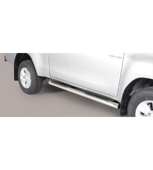TOYOTA HILUX 16+ Grand Pedana (Side Bars with steps) Inox - Extra Cab - GP/418/IX - Sidebar / Sidestep - Unspecified
