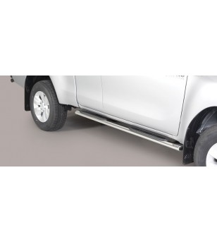 TOYOTA HILUX 16+ Oval grand Pedana (Oval Side Bars with steps) Inox - Extra Cab - GPO/418/IX - Sidebar / Sidestep - Unspecified