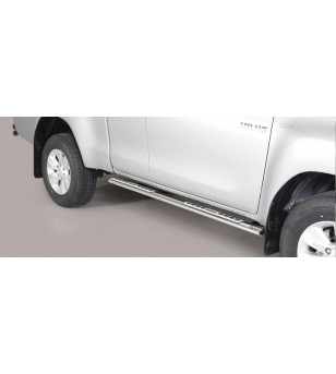 TOYOTA HILUX 16+ Oval Design Side Protections Inox - Extra Cab - DSP/418/IX - Sidebar / Sidestep - Verstralershop