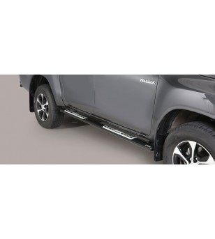 TOYOTA HILUX 16+ Oval Design Side Protections Black Coated - Extra Cab - DSP/418/PL - Sidebar / Sidestep - Unspecified