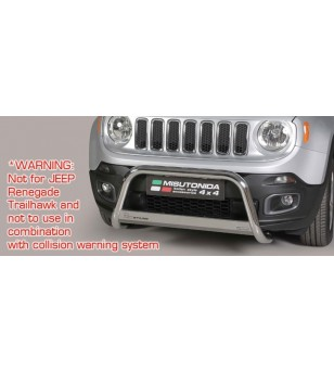 Jeep Renegade 2014- EC Approved Medium Bar Inox ø63 - EC/MED/376/IX - Bullbar / Lightbar / Bumperbar - Unspecified