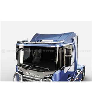 "SCANIA R/G/P Serie 16+ ROOF LAMP HOLDER with 2x Lucidity 18"" LEDBAR - Low roof - 864659 - Roofbar / Roofrails - Metec Truck - Ve"