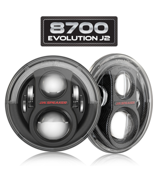 JW Speaker 8700 Evolution J2 black headlamp w DRL - set