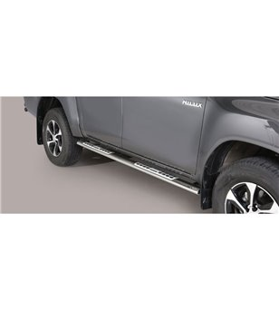TOYOTA HILUX 19+ Oval Design Side Protections Inox - Double Cab - DSP/410/IX - Sidebar / Sidestep - Verstralershop