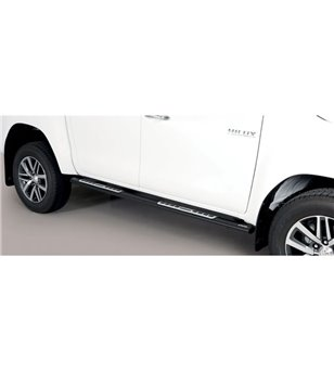 TOYOTA HILUX 19+ Oval Design Side Protections Black Coated - Double Cab - DSP/410/PL - Sidebar / Sidestep - Verstralershop