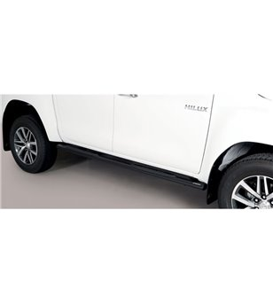 TOYOTA HILUX 19+ Oval grand Pedana (Oval Side Bars with steps) Black Coated - Double Cab
