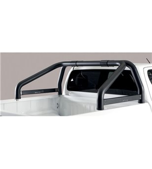 TOYOTA HILUX 19+ Roll Bar Mark on Tonneau Black Coated Inox (2 pipes version)