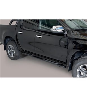 L200 DC 2019- Oval grand Pedana (Oval Side Bars with steps) Inox Black Powdercoated